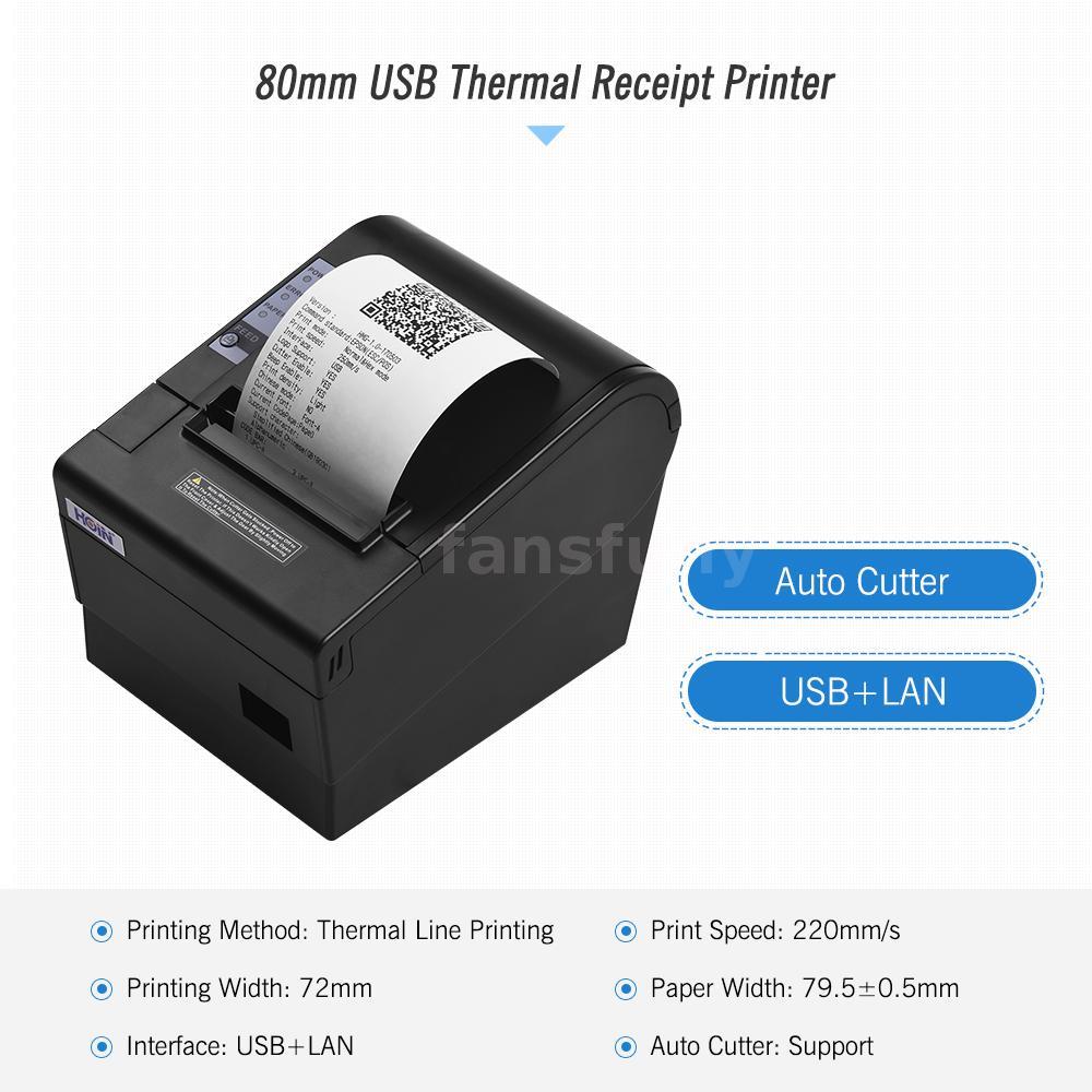 Details about USB 220mm/sec 80mm POS Thermal Dot Label Receipt Printer  AUTO-CUT ESC/POS T8E7